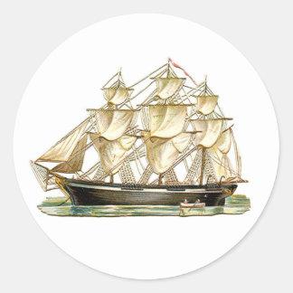 Adesivo Redondo Navio alto clássico