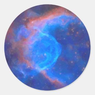 Adesivo Redondo Nebulosa galáctica abstrata com nuvem cósmica 10
