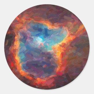 Adesivo Redondo Nebulosa galáctica abstrata com nuvem cósmica 4