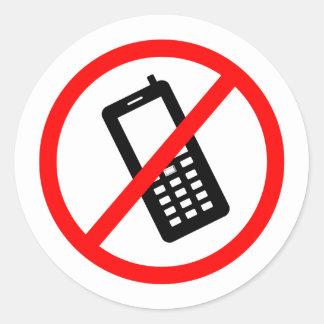 Adesivo Redondo Nenhum telefone permitiu, gira fora seu telemóvel