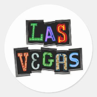 Adesivo Redondo Néon retro de Las Vegas