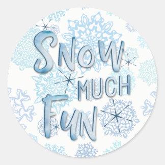 """Adesivo Redondo """"Neva fundo dos flocos de neve de muito"""