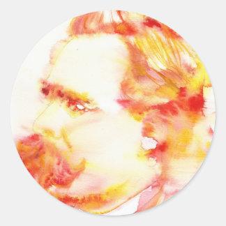 Adesivo Redondo nietzsche de Friedrich - aguarela portrait.3