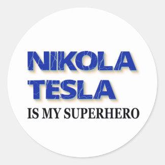 Adesivo Redondo Nikola Tesla é meu super-herói