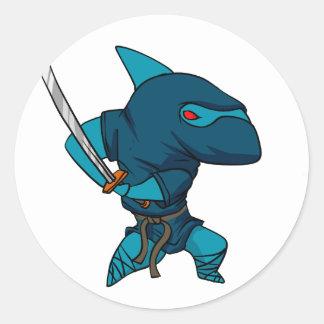 Adesivo Redondo Ninja do tubarão
