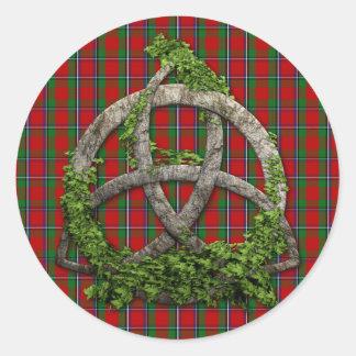 Adesivo Redondo Nó da trindade e Tartan celtas de Sinclair do clã