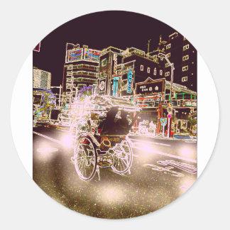 Adesivo Redondo Noite do rickshaw de Tokyo