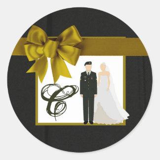 Adesivo Redondo noiva uniforme do noivo do EXÉRCITO do selo de 20