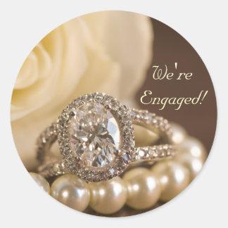 Adesivo Redondo Noivado oval do casamento do rosa branco do anel