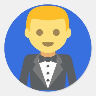 Adesivo Redondo Noivo elegante Emoji