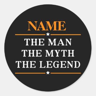 Adesivo Redondo Nome personalizado o homem o mito a legenda