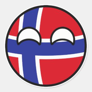 Adesivo Redondo Noruega Geeky de tensão engraçada Countryball