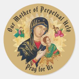Adesivo Redondo Nossa mãe da ajuda perpétua com bebê Jesus