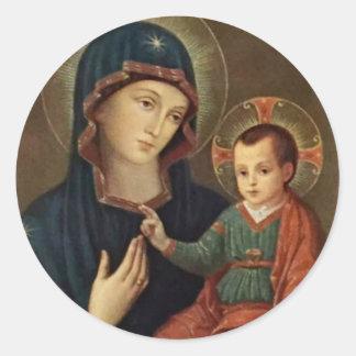 Adesivo Redondo Nossa senhora da consolação com a criança Jesus