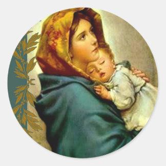 Adesivo Redondo Nossa senhora da criança abençoada rua Jesus da