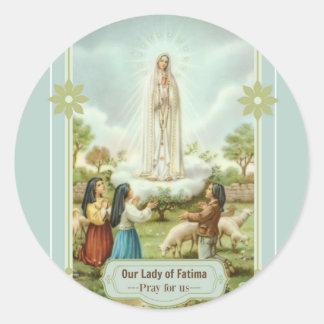 Adesivo Redondo Nossa senhora de carneiros das crianças de Fatima