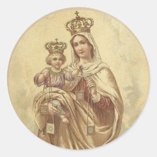 Adesivo Redondo Nossa senhora de Monte Carmelo com o bebê Jesus