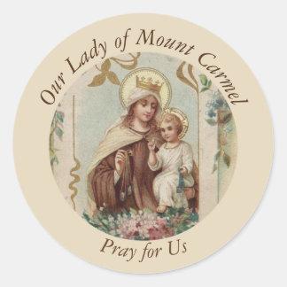 Adesivo Redondo Nossa senhora do bebê Jesus de Monte Carmelo