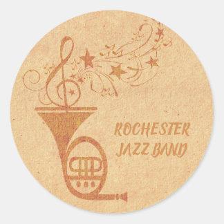 Adesivo Redondo Notas musicais da trompa francesa rústica do