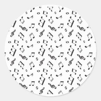 Adesivo Redondo Notas musicais preto e branco
