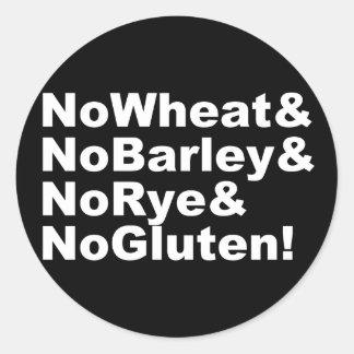Adesivo Redondo NoWheat&NoBarley&NoRye&NoGluten! (branco)