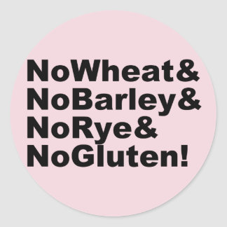 Adesivo Redondo NoWheat&NoBarley&NoRye&NoGluten! (preto)