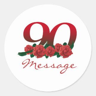 Adesivo Redondo Número feito sob encomenda do aniversário do 90 do