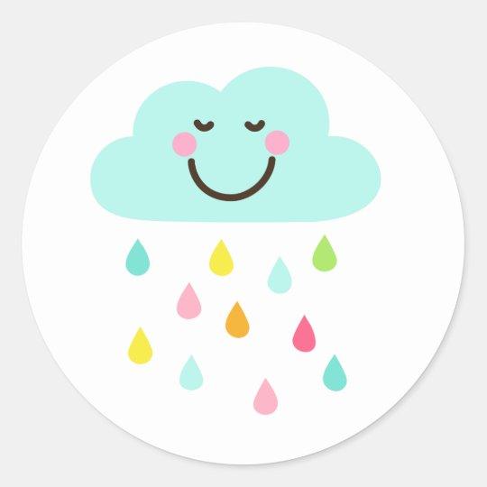 Qual O Artesanato Das Ostras ~ Adesivo Redondo Nuvem feliz bonito com pingos de chuva coloridos Zazzle com br