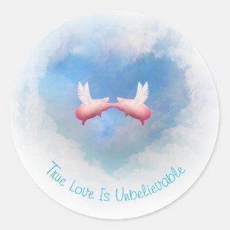Adesivo Redondo O amor Beijar-Verdadeiro de voo dos porcos é
