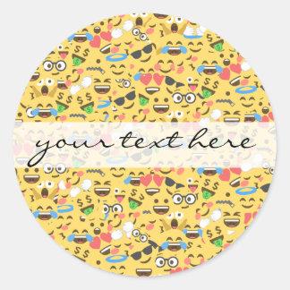 Adesivo Redondo o amor bonito do emoji ouve o teste padrão do riso