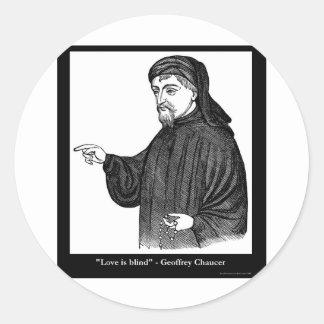 Adesivo Redondo O amor de Chaucer é presentes das camisetas das