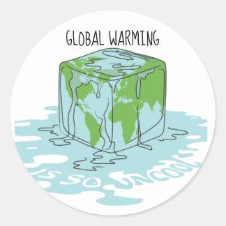 Adesivo Redondo O aquecimento global é tão Uncool