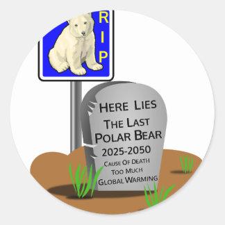 Adesivo Redondo O aquecimento global, RASGA o urso polar 2050