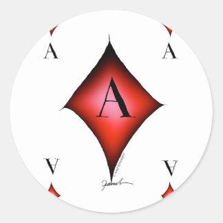 Adesivo Redondo O ás de diamantes por Tony Fernandes
