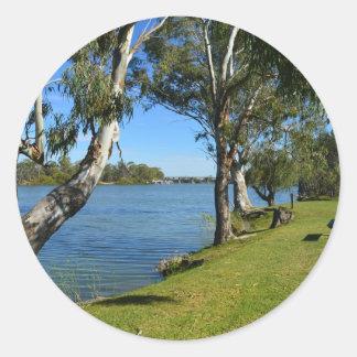 Adesivo Redondo O banco de parque, Berri, Sul da Austrália,