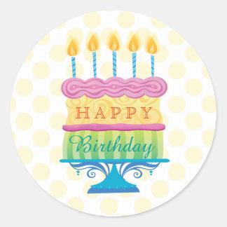 Adesivo Redondo O bolo do feliz aniversario com amarelo pontilha