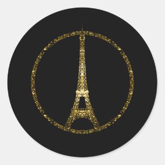 Adesivo Redondo O brilho do ouro da torre Eiffel sparkles no preto