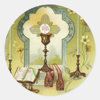 Adesivo Redondo O cálice do altar do Eucaristia do vintage Candles