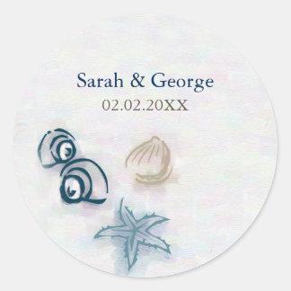 Adesivo Redondo O casamento de praia dos Seashells favorece
