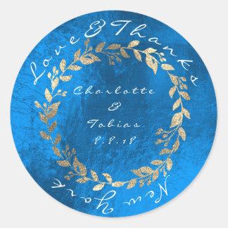 Adesivo Redondo O casamento do campo dos azuis cobaltos agradece a