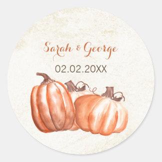 Adesivo Redondo o casamento outono das abóboras da aguarela