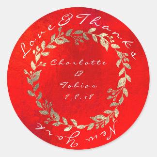 Adesivo Redondo O casamento vermelho vívido do campo do ouro