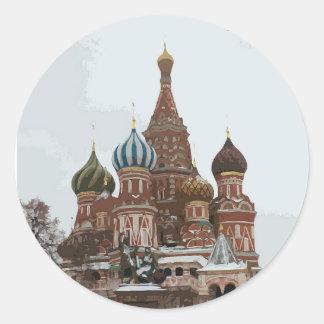 Adesivo Redondo O cathedral_russo da manjericão do santo