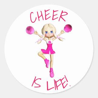 Adesivo Redondo O cheerleader no elogio do rosa quente é vida