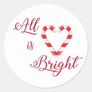 Adesivo Redondo O coração todo do bastão de doces é brilhante
