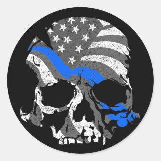 Adesivo Redondo O crânio americano dilui Blue Line