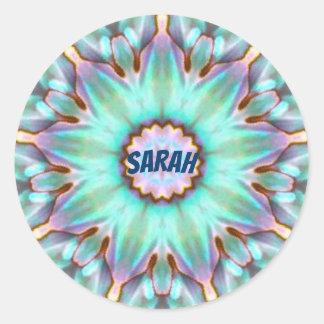 Adesivo Redondo O ~ de Sarah personalizou o ~ do Fractal da