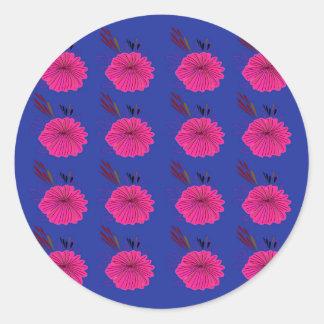 Adesivo Redondo O design floresce o rosa azul