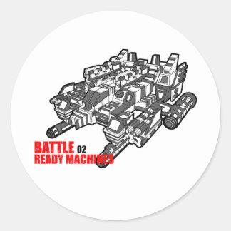 Adesivo Redondo O design pronto das máquinas da batalha em segundo