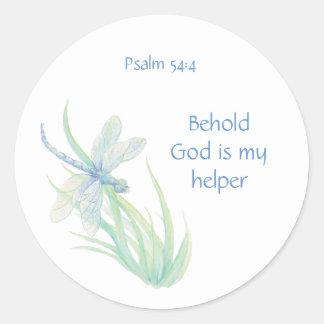 Adesivo Redondo O deus do 54:4 do salmo da escritura da bíblia é